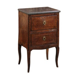 Petite Italian Two-Drawer Commode with Grey Marble Top, circa 1800
