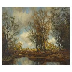 "Arnold Marc Gorter ""Late Autumn"" Impressionist Oil Painting"