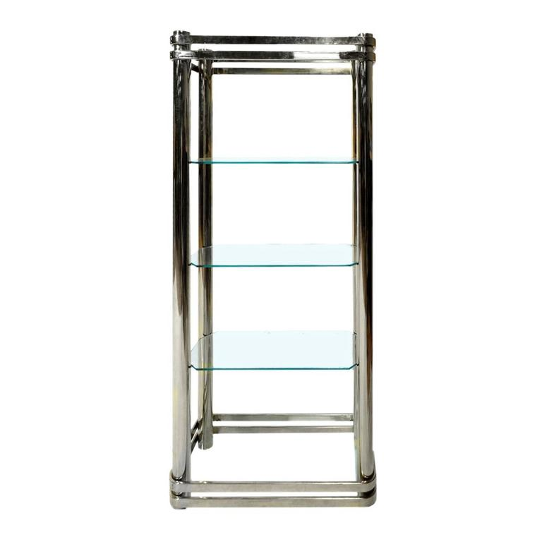 Chrome and Glass Etagere by Pace Collection