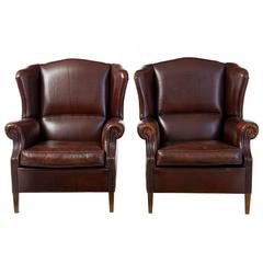 Fine Pair of 20th Century Leather Wingback Armchairs