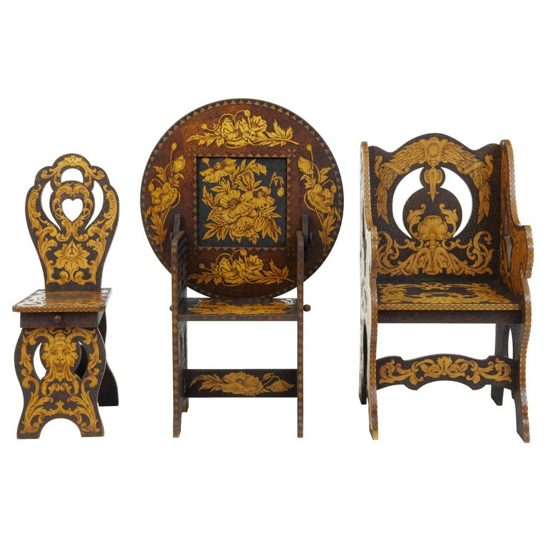 Early 20th Century American, Arts & Crafts Collection of Poker Work Furniture