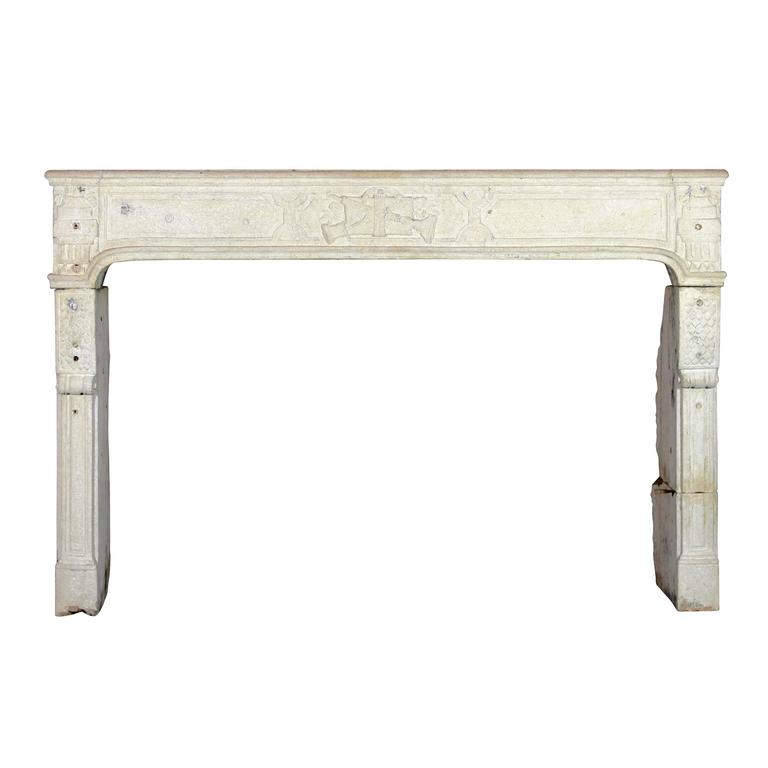 18th Century antique fireplace mantel in limestone