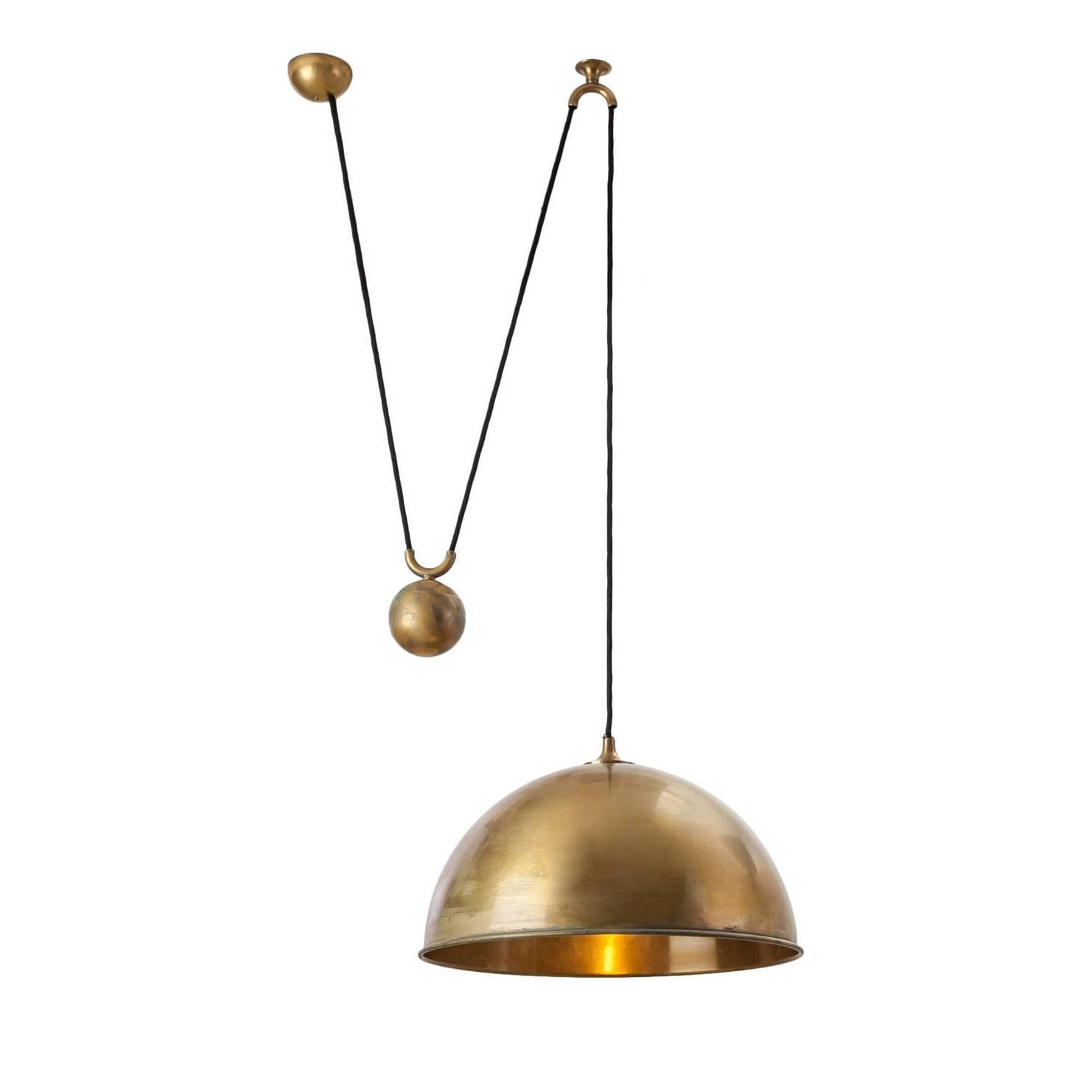 brass pendant glass light three and chiesa product pietro to attributed