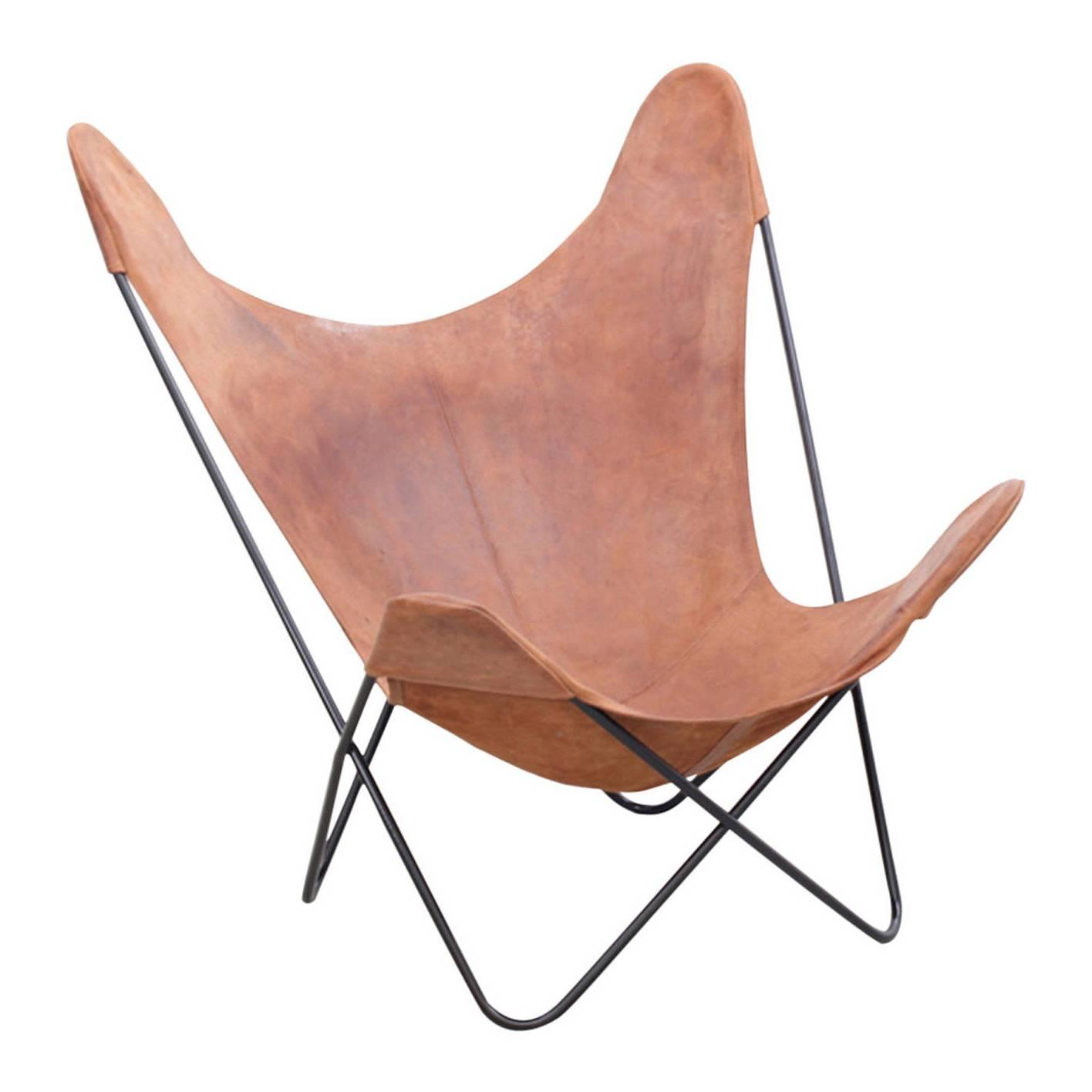 Vintage Hardoy Butterfly Chair In Original Leather At 1stdibs