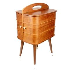 Danish Sewing Box Vanity Side Table with Revolving Drawers