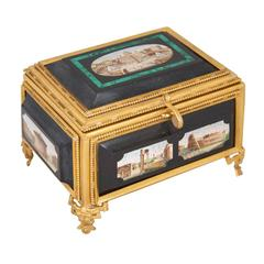 Fine Rectangular Ormolu, Malachite, Marble and Micromosaic Casket