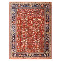 Red Background All-Over Design Antique Persian Mahal Sultanabad Rug