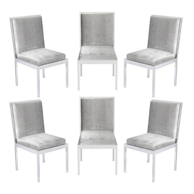 set of six dining chairs in polished chrome by milo baughman for sale