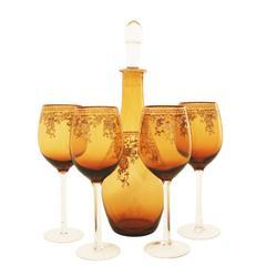 Mid Century Decanter And Wine Glasses Set