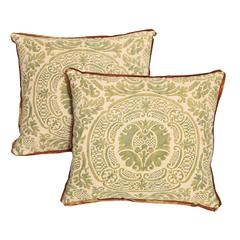 Pair of Vintage Fortuny Fabric Cushions in the Orsini Pattern