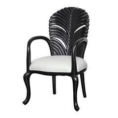 Mid-20th Century Ebonized Stylized Fanback Armchair