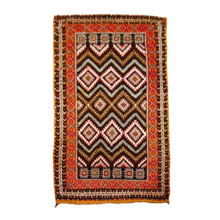 Mid Century Tribal North African Moroccan Berber Rug For