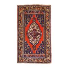 Vintage Turkish Taspinar Rug hand knotted blue and orange