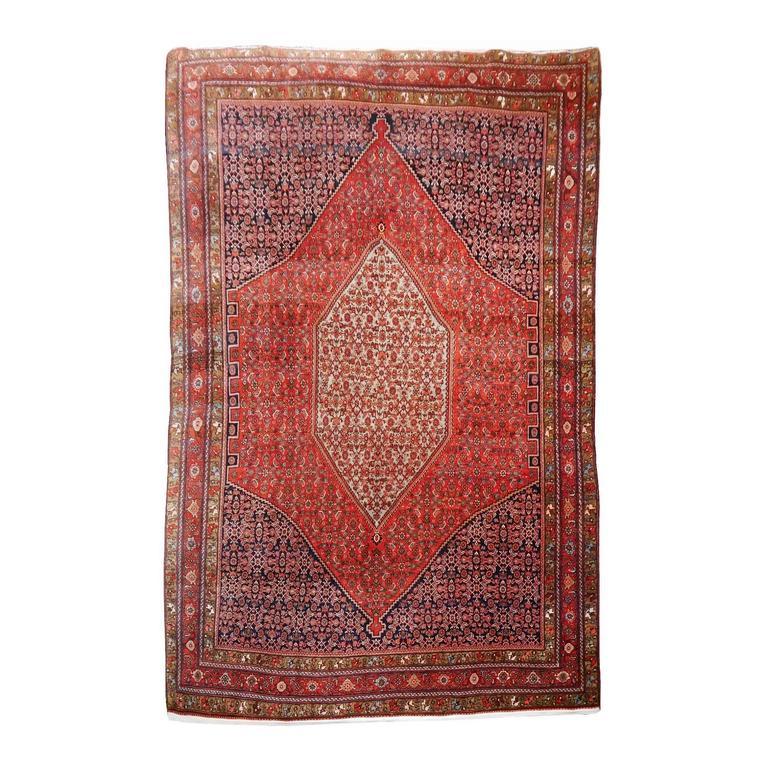Midcentury Vintage Persian Bidjar Rug For Sale