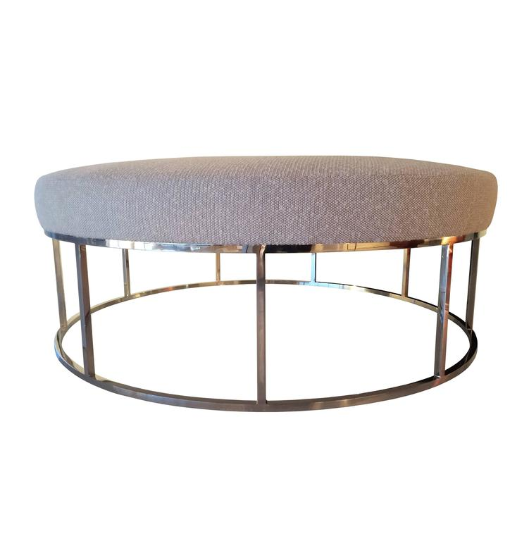 Stunning Custom Designed Round Ottoman with Stainless Steel Base