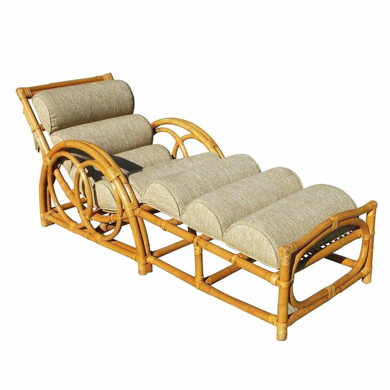 Restored half moon rattan chaise longue chair for sale at for Chaise and a half lounge