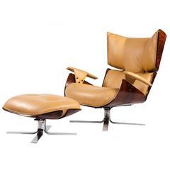 """Paulistana"" Mid-Century Modern Lounge Chair and Ottoman by Jorge Zalszupin"