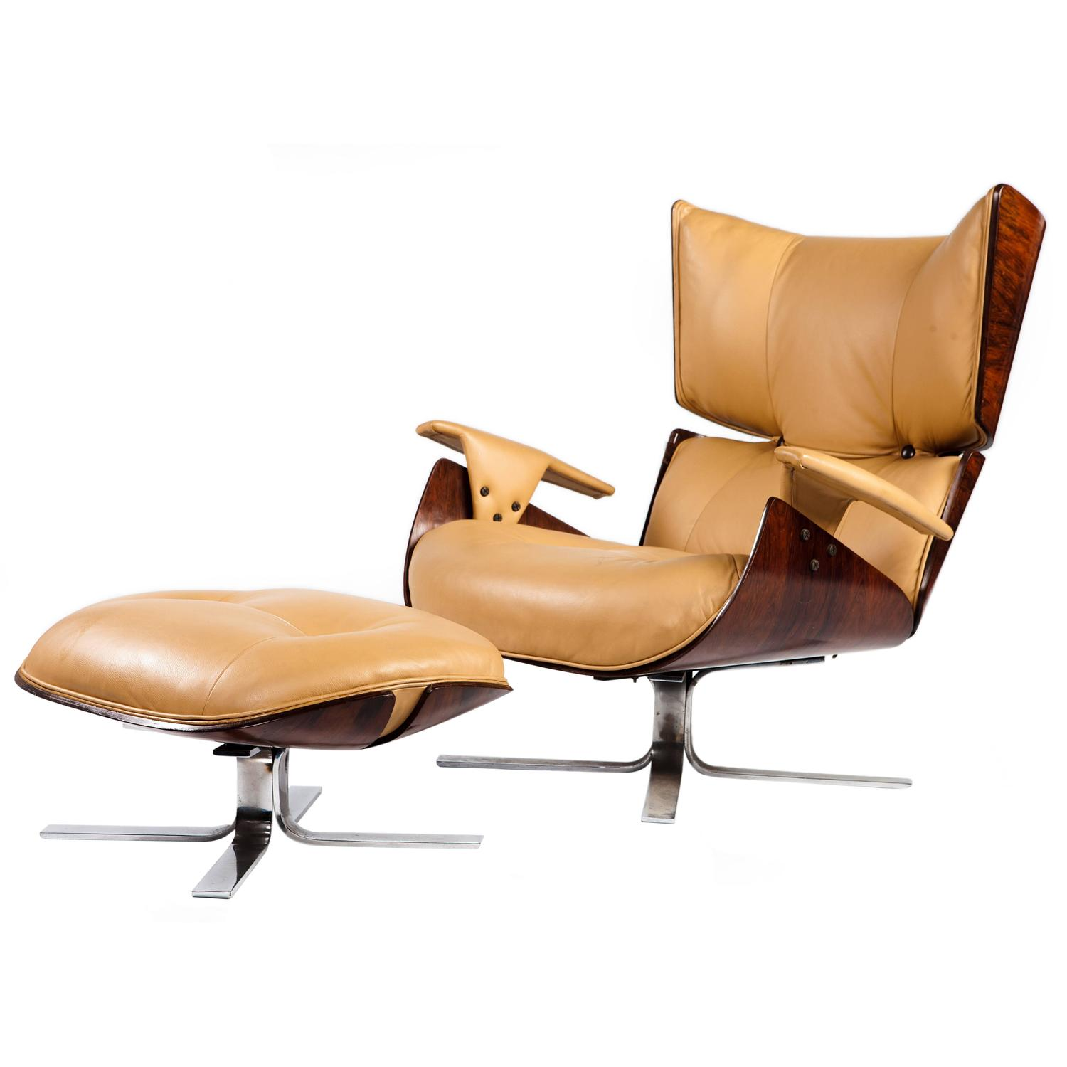Paulistana mid century modern lounge chair and ottoman for Mid century modern leather chairs