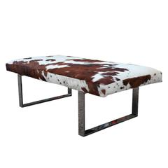 Striking Cowhide and Chrome Bench of Ottoman
