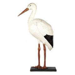 Large German Folk Carved Wood Stork