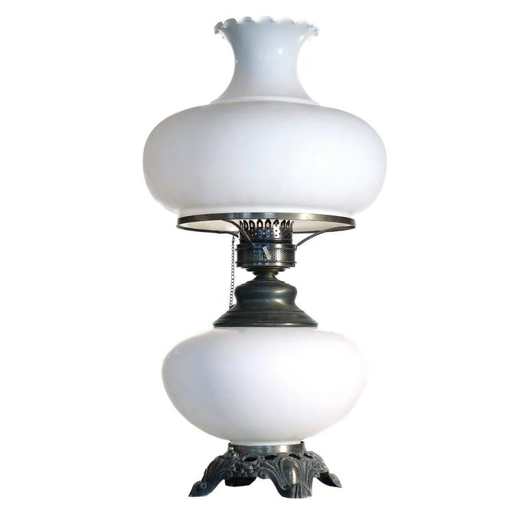 Large Elegant Milk Glass Hurricane Lamp For Sale