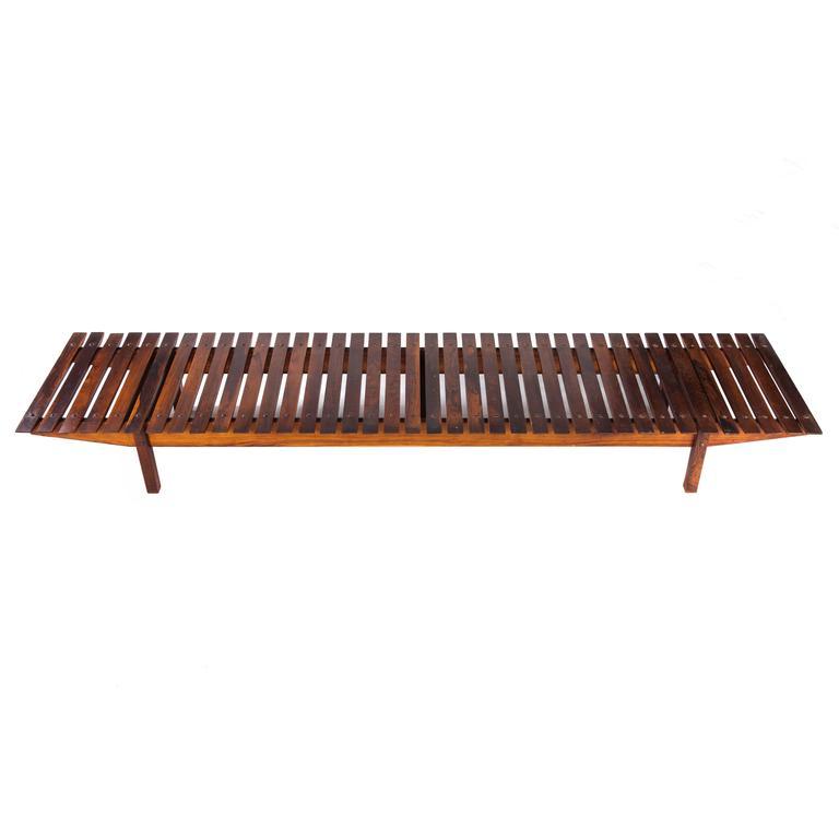 """Mucki"" Brazilian Modern Rosewood Bench by Sergio Rodrigues"