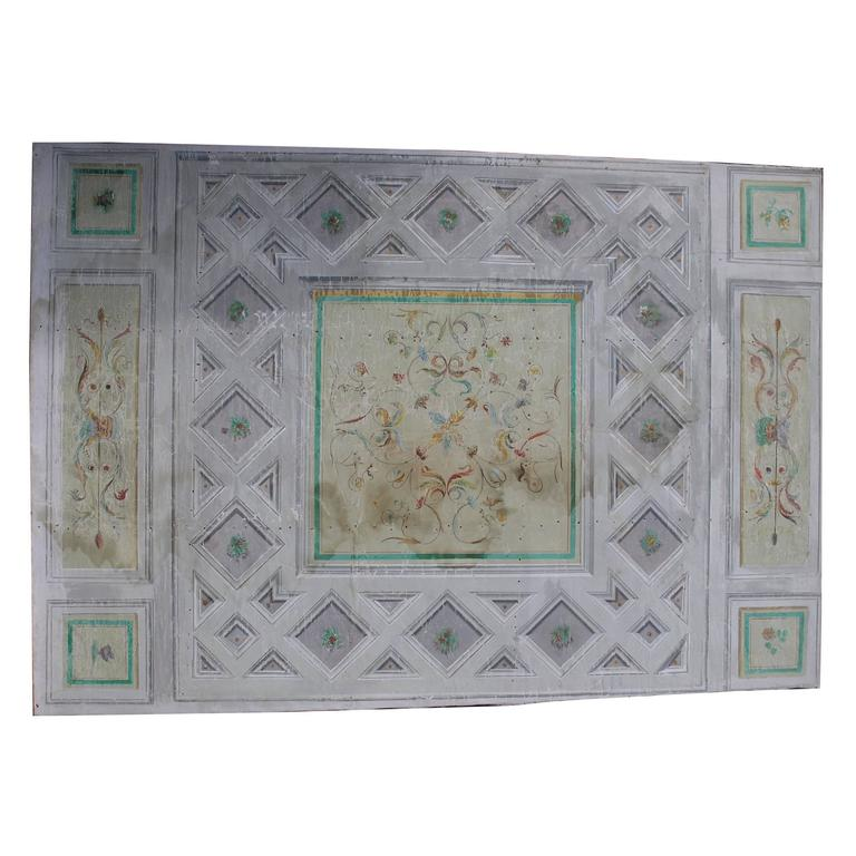 Antique Lacquered Ceiling, Painted on Canvas 1
