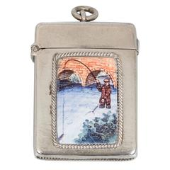 Enamel on Silver Fly Fisherman Matchsafe