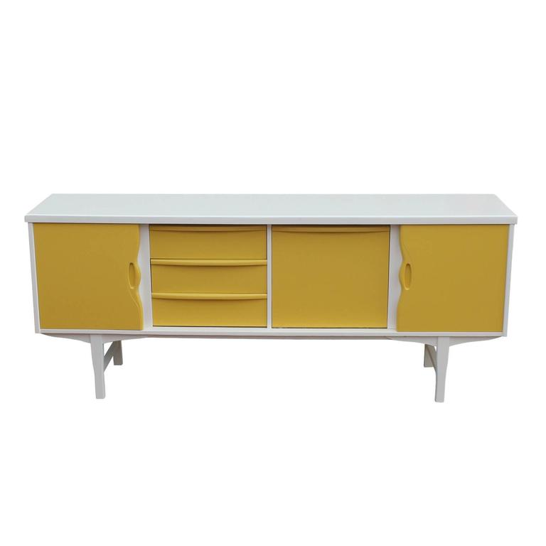 Mid Century Modern Clean Mustard Lacquered Sliding Door Sideboard