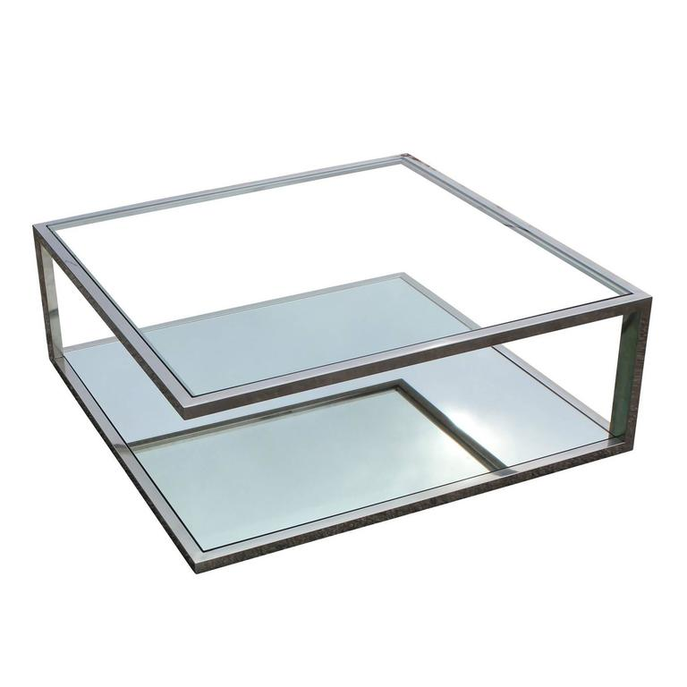 Angular Modernist Square Chrome And Glass Coffee Table For