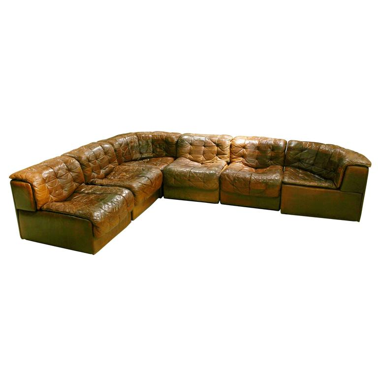 de sede leather patchwork chesterfield sofa at 1stdibs. Black Bedroom Furniture Sets. Home Design Ideas