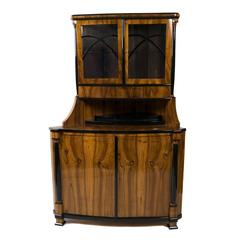 Austrian Biedermeier Walnut Corner Cabinet, Early 19th Century