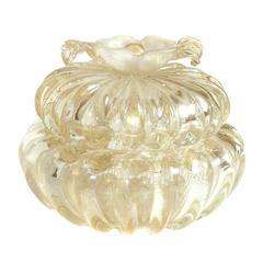 Seguso Murano Gold Flecks Applied Flower Italian Art Glass Vanity Powder Box
