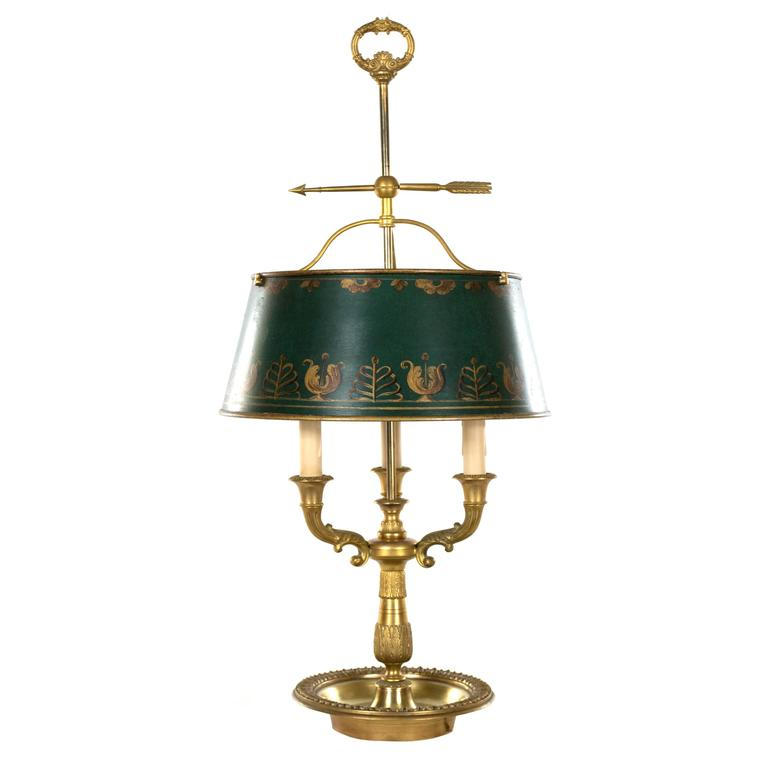 English Brass Table Lamp with Painted Shade For Sale