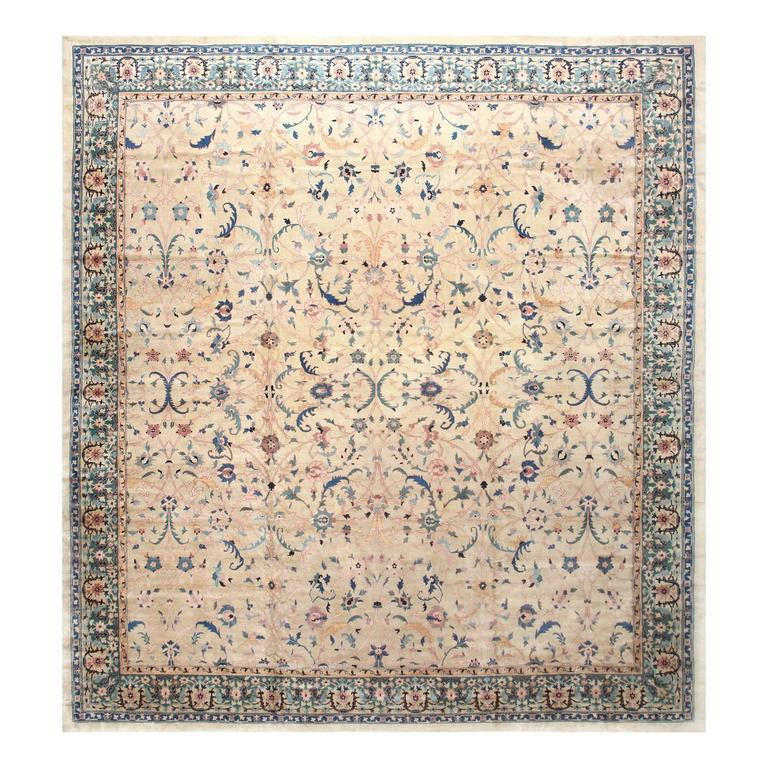 Antique Indian Rugs: Large Square Antique Indian Agra Rug For Sale At 1stdibs