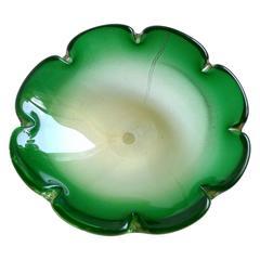 Murano Gold Flecks Green Sommerso Italian Art Glass Decorative Bowl