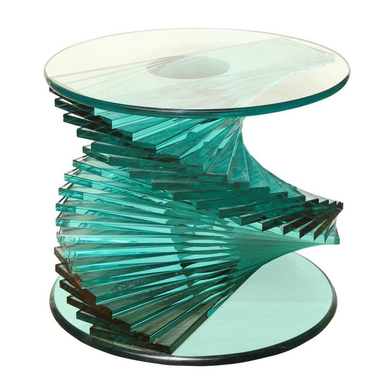Small Glass Side Table with Polished Glass Top