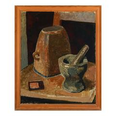 Large Danish Framed Still-Life Painting with Mortar and Pestle