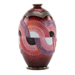 """Geometric"" Pattern Art Deco Enameled Vase by Camile Faure"