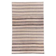 Striped Vintage Anatolian Kilim Made of Wool and Goat Hair