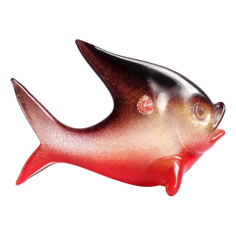 Archimede seguso murano red gold purple italian art for Murano glass fish