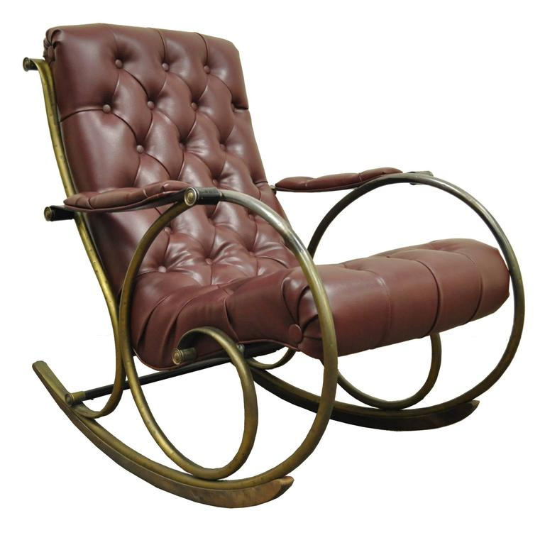 Merveilleux Mid Century Lee Woodard Tubular Brass Rocking Chair Or Rocker In Tufted  Vinyl For Sale