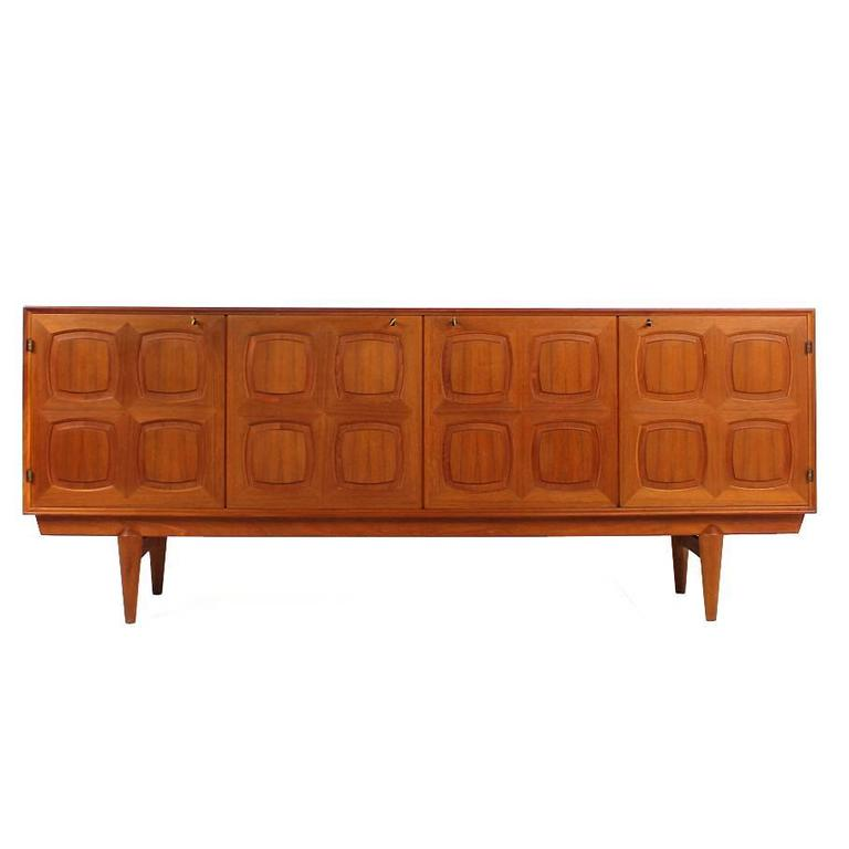 Rastad and Relling Teak Graphic Sideboard, Gustav Bahus, Norway, 1960s For Sale