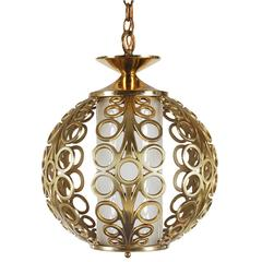 Hollywood Regency Brass Ring Pendant Hanging Lamp