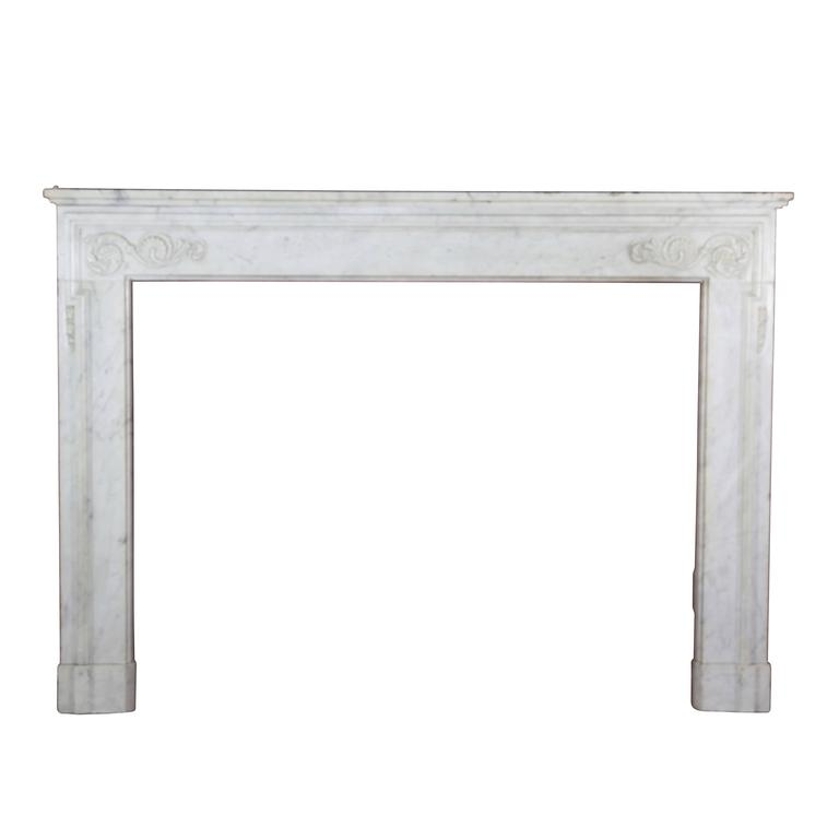 19th Century Antique Fireplace Mantel in Carrara Marble