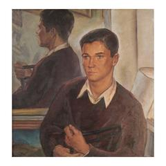 """Tony,"" Superb 1940s Portrait of Male Youth by Marion Huse, Hawthorne Pupil"