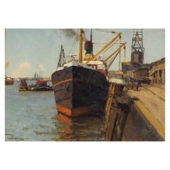 'Port of Call' Harbor Scene by Henk Dekker, Dated 1931