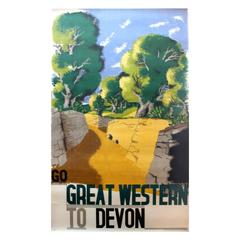 Original 1932 GWR Poster by Edward McKnight Kauffer Go Great Western to Devon