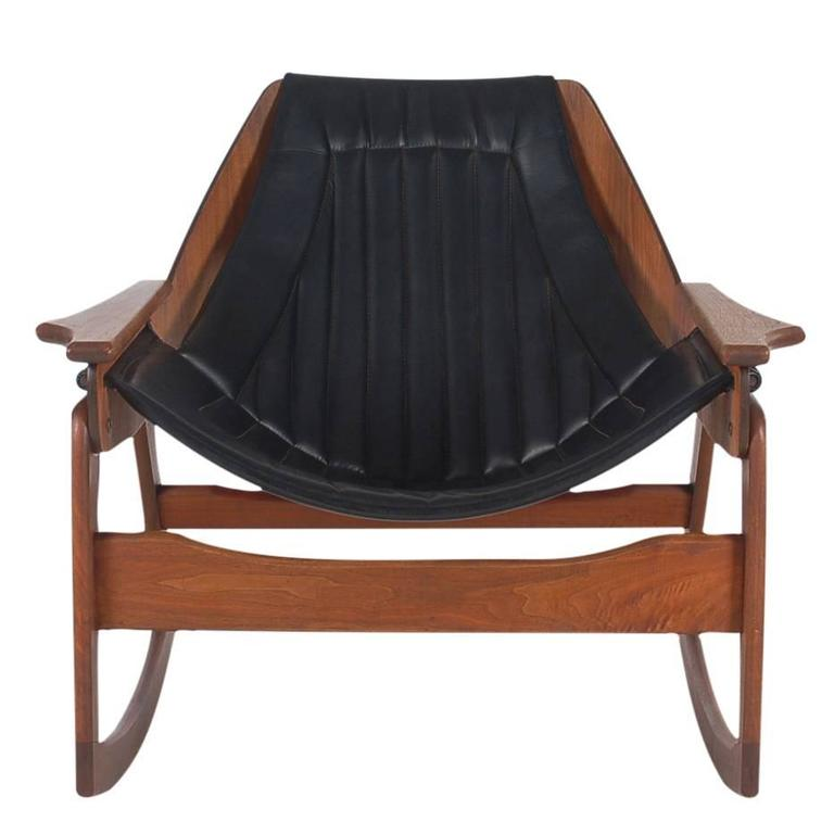 Danish Style Mid Century Modern Sculptural Walnut & Black Bentwood Rocking Chair