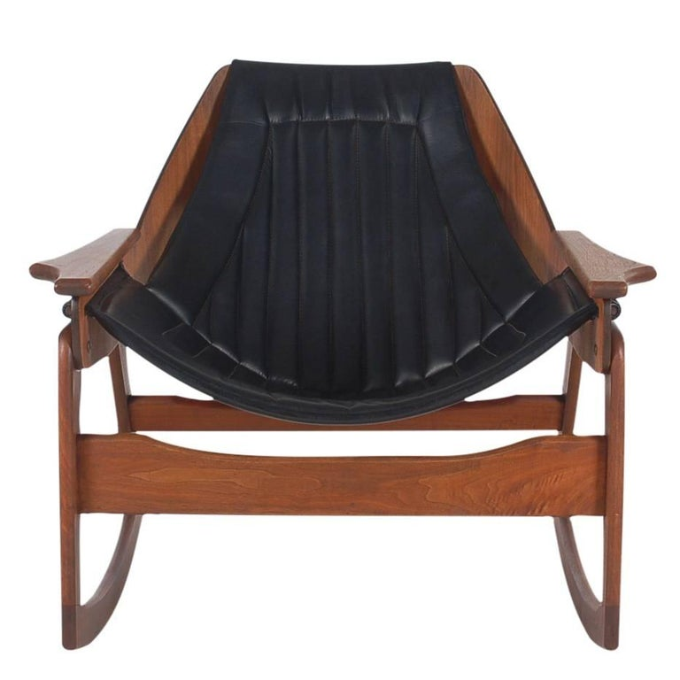 Danish Style Mid Century Modern Sculptural Walnut & Black Bentwood Rocking Chair For Sale